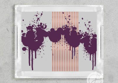 Ink Splatter Lucite Tray in Plum