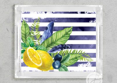 Blueberry Lemonade Striped Lucite Tray