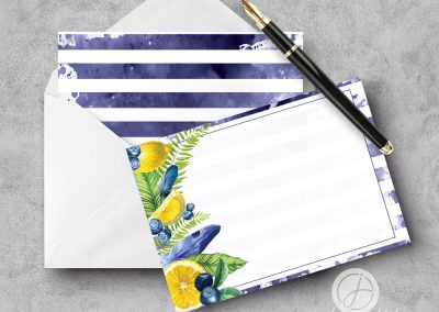 Blueberry Lemonade Striped A2 Flat Notecard